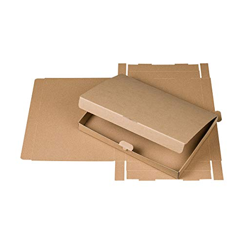 A4 Schachtel mit Klappdeckel, Kraftkarton 600 g/m², braun, 30 mm hoch - 10er Pack