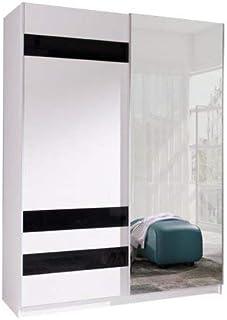 Armoire, Penderie avec 2 Portes coulissantes (L x H x P): 150x206x62 cm (ADA7: Blanc Mat + Verre Noir + Miroir)