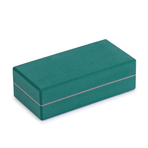 Yoga Studio YS/Brick/Teal, Yoga Mattone – 22 cm x 11 cm x 5 cm, in Eva con Bordi smussati, Accessorio Leggero per Esercizi – Verde Acqua Unisex-Adulto, Foglia di t, 22cm x 11cm x 5cm