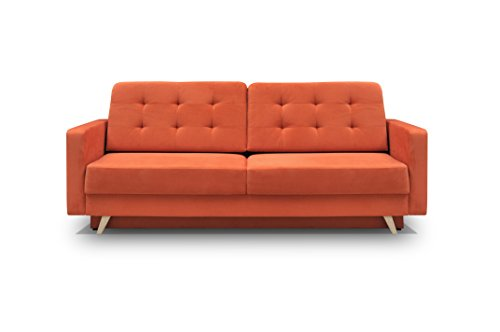 Comments about this sleeper sofa include wide and comfortable, great quality, looks good, thick cushions