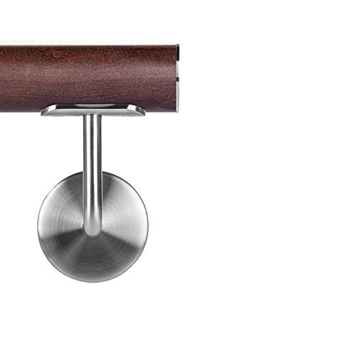 Buche gebeitzt auf Wenge Holzhandlauf Ø 42,4 mm Wandhandlauf 90 cm 2 Halter flach
