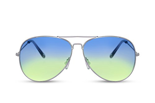 occhiali da sole donna a goccia Cheapass Occhiali da Sole da Pilota Montatura d'Argento Lenti Gradienti Colorate da Rosa e Viola Categoria 2 UV400 Protezione