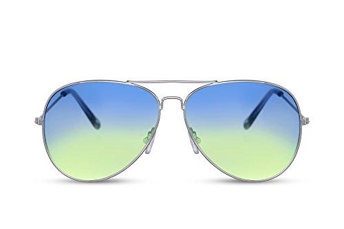 Cheapass Occhiali da Sole da Pilota Montatura d'Argento Lenti Gradienti Colorate da Rosa e Viola Categoria 2 UV400 Protezione