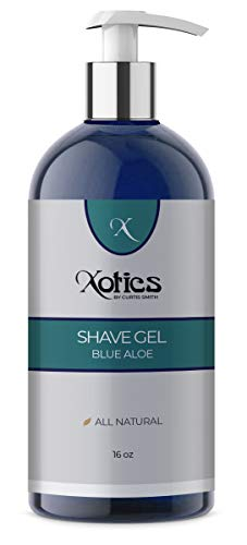 Xotics by Curtis Smith – Shave Gel – Blue Aloe – 16 oz – Professionally Formulated to Improve Blade Guide for a Close & Comfortable Shave – Enhanced Peppermint, Chamomile, Aloe Vera & More