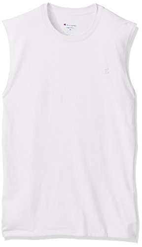 Champion Men's Classic Jersey Muscle T-Shirt, White, XL