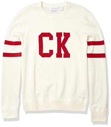 Calvin Klein Men's Supima Cotton Crewneck Sweater, Marshmallow, X-Large