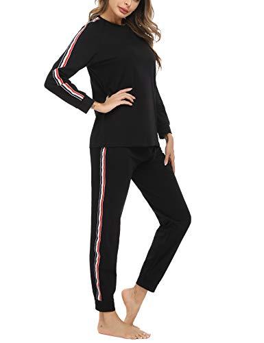Akalnny Jogginganzug Damen Schlafanzug Lang Trainingsanzug Baumwolle Langarm Hausanzug Sportanzug für Frauen