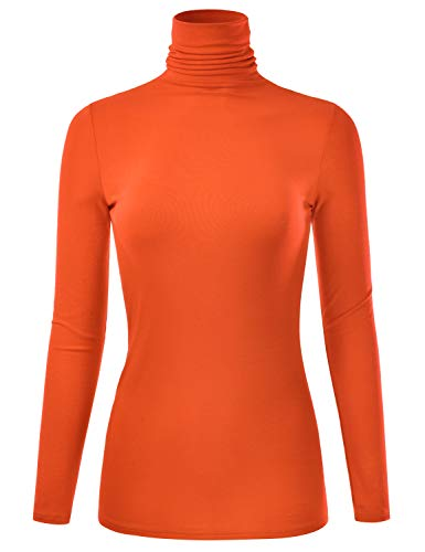 EIMIN Women's Long Sleeve Turtleneck Lightweight Pullover Slim Shirt Top Orange L