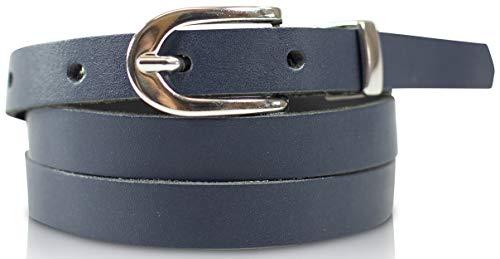fashionchimp Cintura donna basic, 100% vera pelle, cintura stretta, larghezza circa 1,5 cm - Made In Germany (navy blu - 100/BW85)