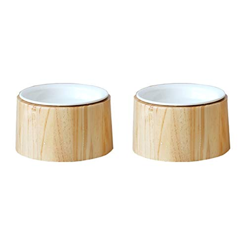 ZAHNGAIGUO Erhöhte Bambus-Stütze und Keramik-Schale Kippstation für Futter und Getränke für Katzen und Hunde. wasserdichte Oberfläche für komfortable Reinigung und Gute Verdauung für Haustiere