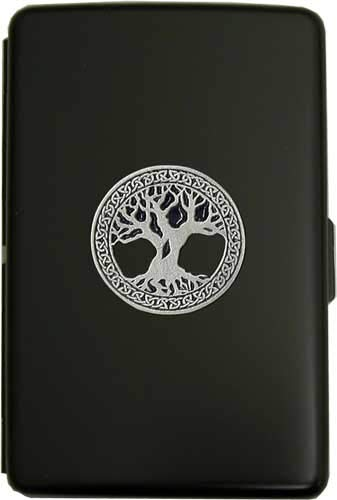 100mm 'Celtic Tree of Life' Black Cigarette Case/Stash Holder
