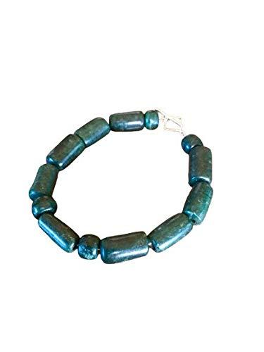 N Pulsera Jade Piedra Perlas Tubos Verde Espinaca Serpentina Guatemala Maya Único en el Mundo 20mm