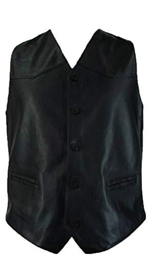 Unicorn Hommes Réel en Cuir Classique Gilet Noir Taille 44 Veste #W4
