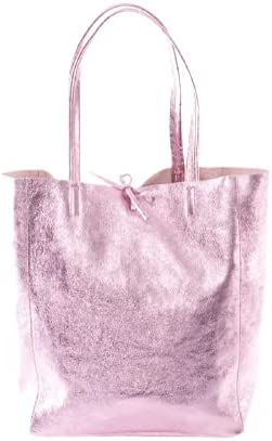 Genuine Metallic Italian Leather Tote Bag for Women | Pink Leather Large Shopper Tote with Tie Closure | Zipper Handmade Totes | Shoulder Tote Bag for Women