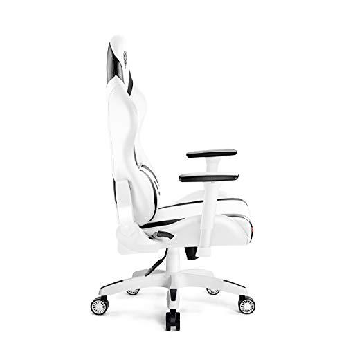 Diablo X-Horn Sedia Gaming Ufficio Braccioli 3D Design Ergonomico Collo/Cuscino Lombare Finta Pelle Meccanismo Oscillante (Bianco, L)