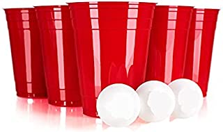 Plastic Cups, 50 Red Disposable Cups With 4 Pingpong Balls, Disposable Plastic Cups For Party, Party Cups, B-Pong Cups