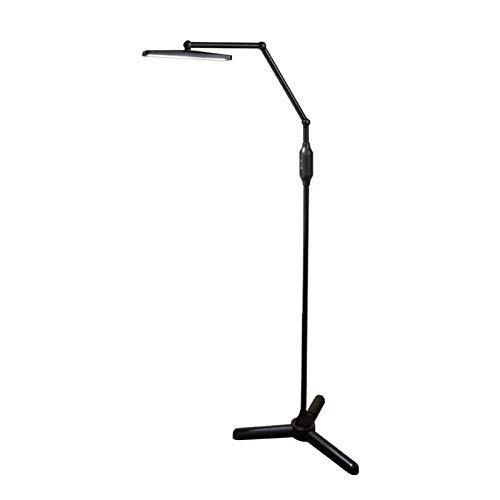 MFLASMF Lámpara de pie Luz de Suelo Regulable con LED Trípode Negro Lámpara de Escritorio de 12 W Control Remoto y Control táctil 2 temperaturas de Color, 5 Niveles de Brillo Lámpara de be
