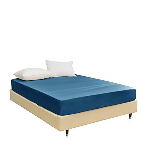 STRATO łóżko - prześcieradło z gumką z mikrofibry (150 x 200 cm z głęboką kieszenią 35 cm) na łóżko typu king - łatwa pielęgnacja, odporne na kurczenie się i blaknięcie, oddychające, klasyczne niebieskie