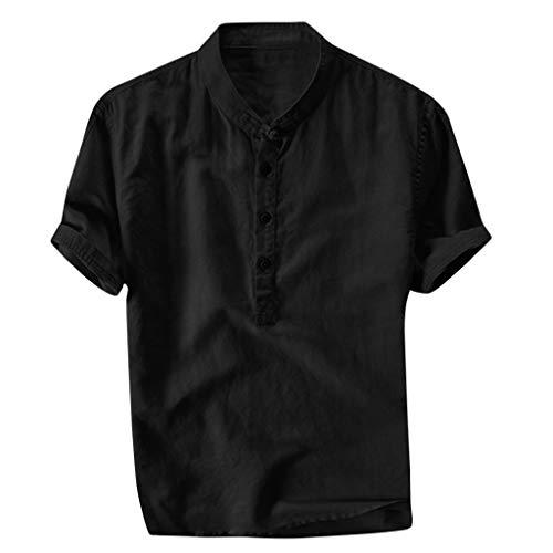 Xmiral Herren Leinenhemd leinen Shirt Kurzarm Hemden mit Stehkragen Kurze Knopfleiste Slim fit für Männer(Schwarz,3XL)