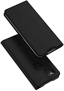 حافظة حماية فائقة النحافة باغلاق مغناطيسي وبتصميم محفظة جلدية يمكن استخدامها كمسند، لهاتف جوجل بكسل 5، اسود