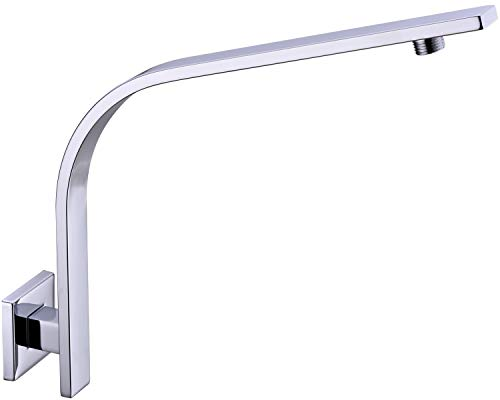 TRUSTMI Square Shower Arm with Flange 12 Inch C-Shape Arc Extension Pipe for Big Shower Head High Rise Replacement, Stainless Steel, Wall Mounted, Chrome