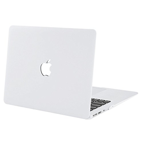 Enthopia MacBook Air 13 Inch Case (Release 2010-2017 Version - A1369 & A1466), Plastic Hard Case & Keyboard Cover and Dust Plug (Will not fit 2018 Model) – (White) with Logo Cut