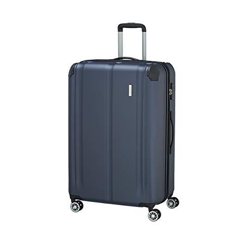 Travelite 4-Rad Koffer L mit TSA Schloss + Dehnfalte, Gepäck Serie CITY: Robuster Hartschalen Trolley mit kratzfester Oberfläche, 073049-20, 77 cm, 113 Liter (erweiterbar auf 124 L), marine (blau)