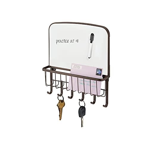 mDesign range courrier et boite à clés en acier - pour le rangement de vos clefs, lettres et brochures - avec un tableau blanc - porte courrier mural - bronze