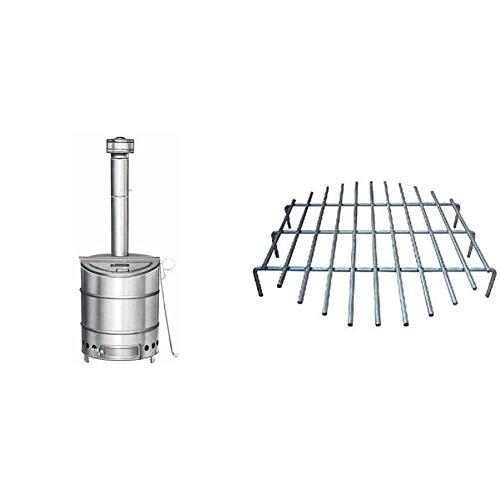 三和式ベンチレーター 家庭用 ステンレス製 焼却炉 120型 & 焼却炉部品 FW-08-000018 ロストル(サナ)120型用【セット買い】