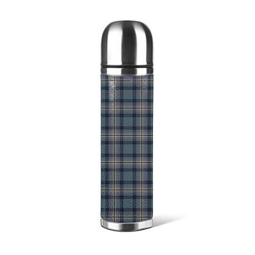 Art Fan-Design - Botella de agua de acero inoxidable, diseño de cuadros, color verde azulado y negro Kennedy Clan antiguo escocés aislado al vacío de cuero a prueba de fugas doble pared contenedor de viaje termo 500 ml
