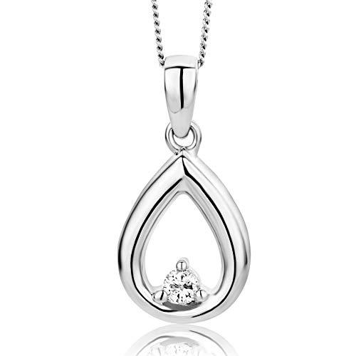 Orovi Damen Diamant Kette Weißgold, Halskette mit Anhänger Tropfen 14 Karat (585) Gold und Diamant Brillanten 0.03 Ct, 45 cm lang