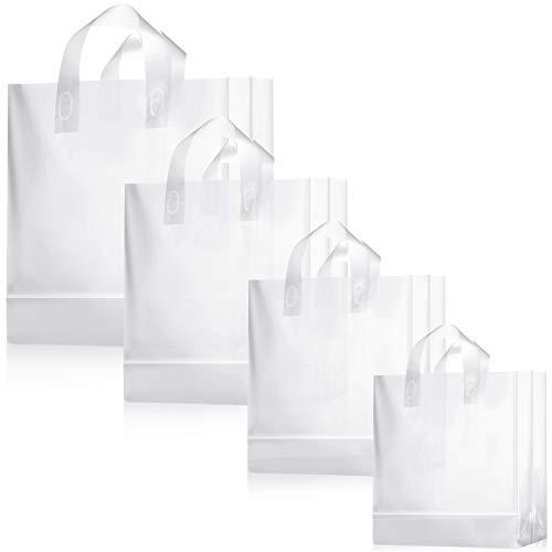 4 Tamaños Diferentes 100 Piezas Bolsas de Plástico Esmerilado Transparente con Manejas, Bolsas, Bolsas de Regalo, Bolsas para Llevar con Fondo de Cartulina