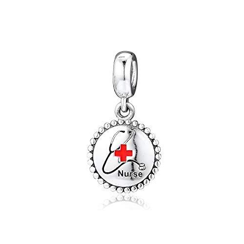 LILANG Pandora 925 Pulsera de joyería Natural encantos de Plata esterlina auténtica Enfermera cuelga Cuentas para Mujeres Regalo DIY
