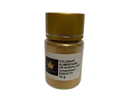 Polvere alimentare commestibile, colorante oro luccicante, confezione da 15 g
