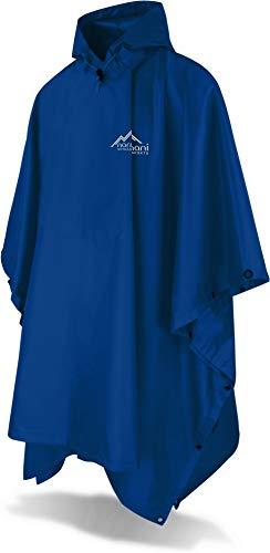 normani Outdoor Sports Regenponcho mit Kapuze - Wassersäule: 6000 mm - Regenjacke für Damen und Herren Farbe Marine