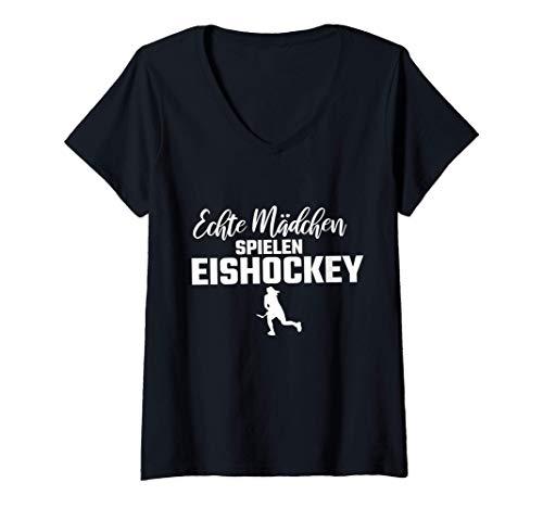 Damen Echte Mädchen Hockey Eishockey Trikots T-Shirt mit V-Ausschnitt