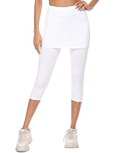iClosam Pantalones de Falda de Tenis y Golf para Mujer Falda Deportivo con Bolsillos Tela Elástica(M,Blanco)