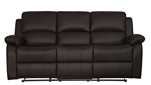 Homelegance 9928DBR-3 Clarkdale Double Reclining Sofa with Drop Down Cup Holders, Br Brown