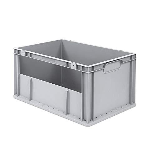 aidB Eurobox NextGen Insight Seite offen, 600x400x320 mm, robuste Regalbox mit Entnahmeöffnung, stapelbare Kunststoffkiste, ideal für die Industrie