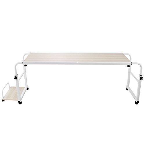 Bisujerro 1M Mesa de Cama para Portátil Soporte para Ordenador con Estante de Mainframe Over Bed Laptop Table con Ruedas (1M con Estante de Mainframe)