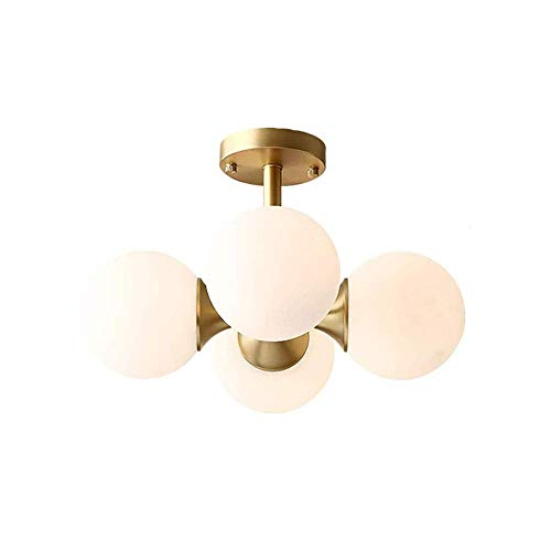 WYBW Lámpara de araña, iluminación colgante moderna de mediados de siglo, vidrio blanco mate con acabado de latón, lámpara colgante de globo, lámpara de techo de montaje semi empotrado, 4 cabezas, 40