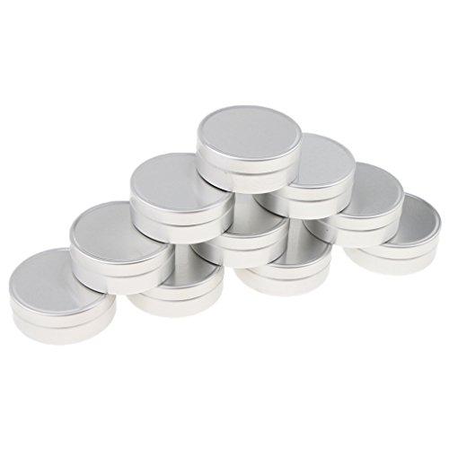 10 Pcs 10ML/15Ml Pot Boîtier Boîte Vide En Aluminium Pour Epice Baume - argent, B-10ML-4 x 1,4 cm