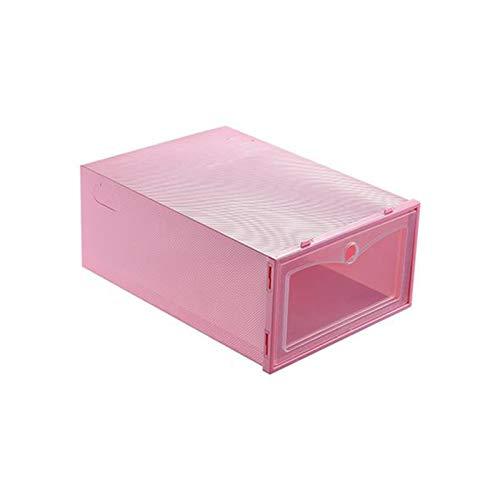 Sanyyanlsy Shoe Box Foldable Clear 1 Pack, Shoe Storage Boxes Women Men Plastic for Sneaker, Heel, Sandal Assembleable,Pink,C