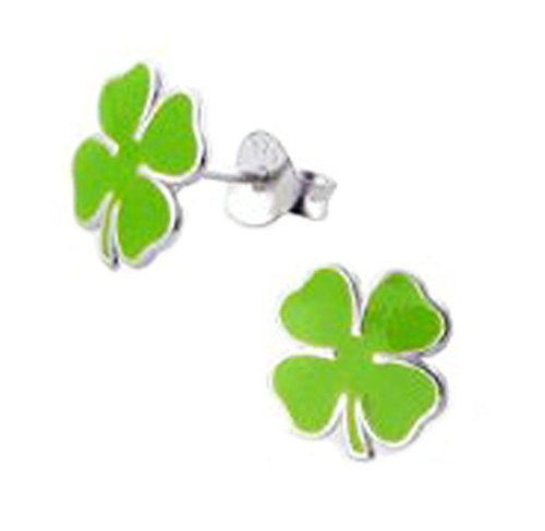 Lucky Clover Studs Earrings Brilliant Green Stering Silver (E4671)