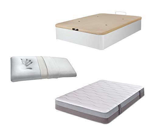 DHOME Pack Canape abatible tapizado 3D Madera + Colchón viscografeno, Reversible mas Almohada viscoelastica (135x200 Blanco, 22mm + Colchón + Almohada Viscoelástica)