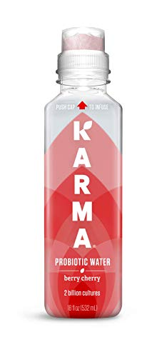 Karma Wellness Water Wellness Flavored Probiotic Water, Berry Cherry, 18 Fluid Ounce (Pack of 12), Immunity and Digestive Health Support, Low Calorie, 2 Billion Active Cultures