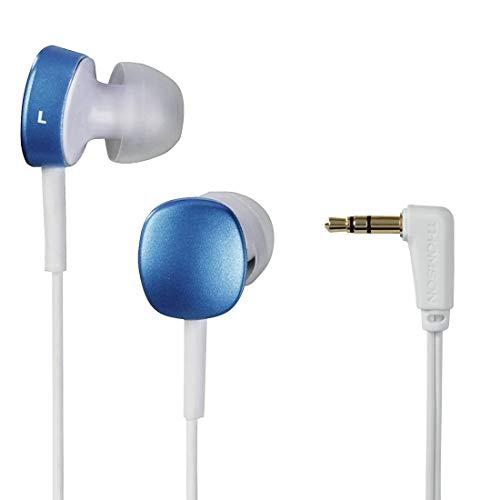 THOMSON EAR3056WB - In-Ear-Kopfhörer (3,5 mm Klinkenstecker, 102 dB / mW, 1,2 m Kabel) Blau / Weiß
