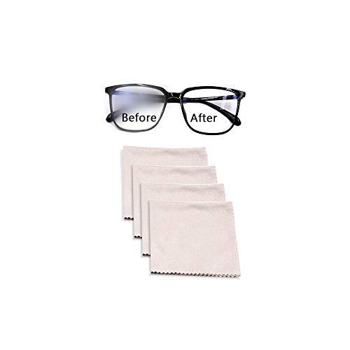Hanbee Panno in Microfibra antiappannante 4 Pezzi, Panno da Occhiali per la Pulizia degli occhialii, compresse, schermi, Lenti Fotocamera, la Pulizia degli occhial