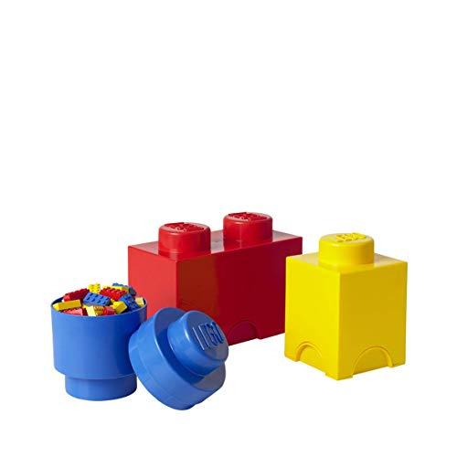 Room Copenhagen 40140001 Multipack de Ladrillos de Almacenamiento de Lego, pequeño. Cajas de almacenaje apilables. Conjunto de 3 Piezas, Multicolor, One Size