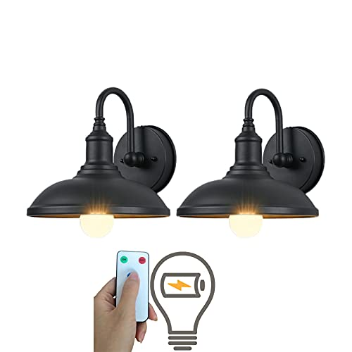 civaza 2 Pack Industrial Light Black Wall lamp, Led Remote Control Battery Operated Indoor Wireless Dimmable Wall Sconce Light Fixture for Loft Bedroom Wall Decor, Battery Light Bulb Included